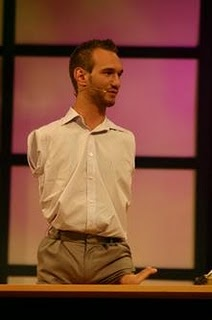 Nick Vujicic: a man with no limbs who teaches people how to get up  Nick Vujicic was born in Melbourne, Australia with the rare Tetra-amelia disorder: limbless, missing both arms at shoulder level, and having one small foot with two toes protruding from his left thigh. Despite the absence of limbs, he is doing surf and swimming, and playing golf and soccer. Nick graduated from college at the age of 21 with a double major in Accounting and Financial Planning. He began his travels as a motivati...: Nick Vujicic, This Man, Christian Speakers, Melbourne Australia, Colleges, Life, Living Inspiration, Inspiration People, Motivation Speakers