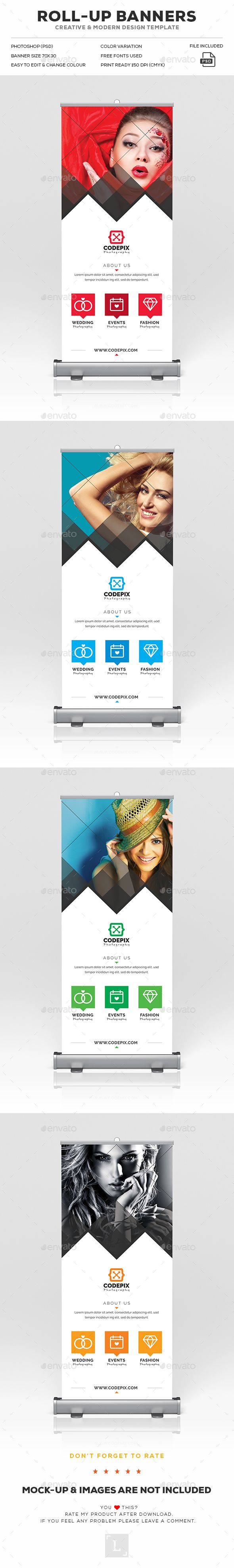 Photography Roll-Up Banner Design Template - Signage Ads Rool Up Banner Print Te...