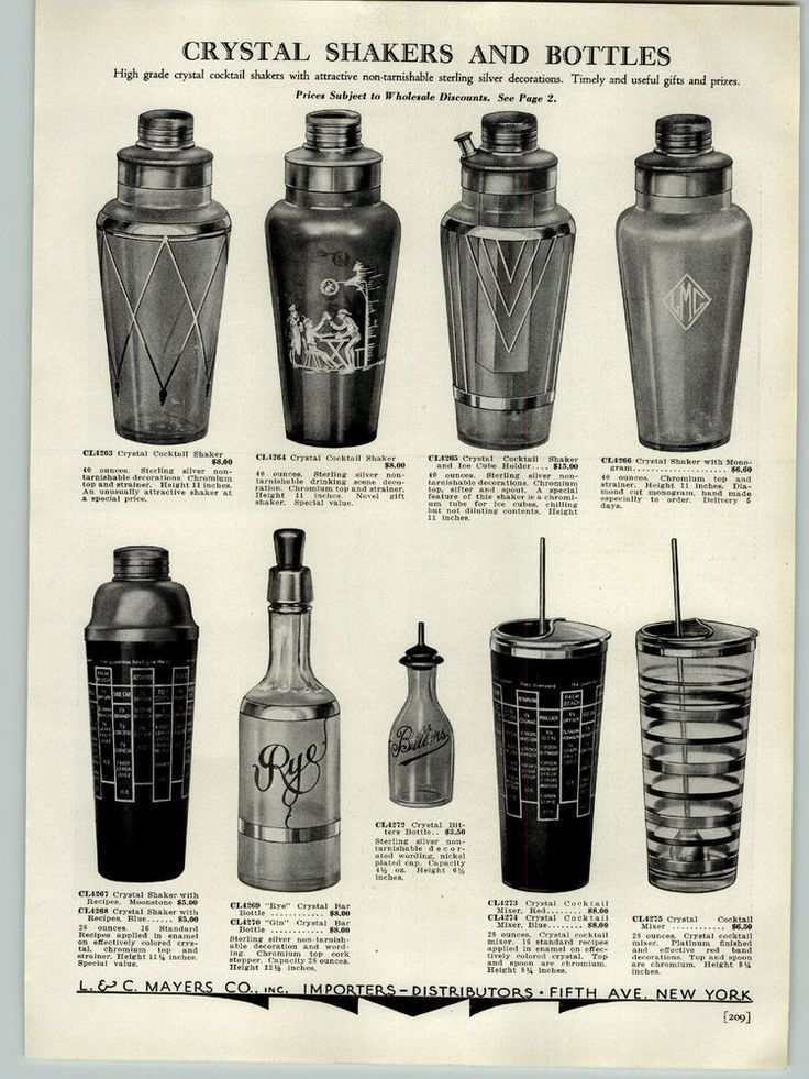 1934 PAPER AD 3 PG Crystal Beverage Cocktail Shaker Pub Scene Ice Cube Holder