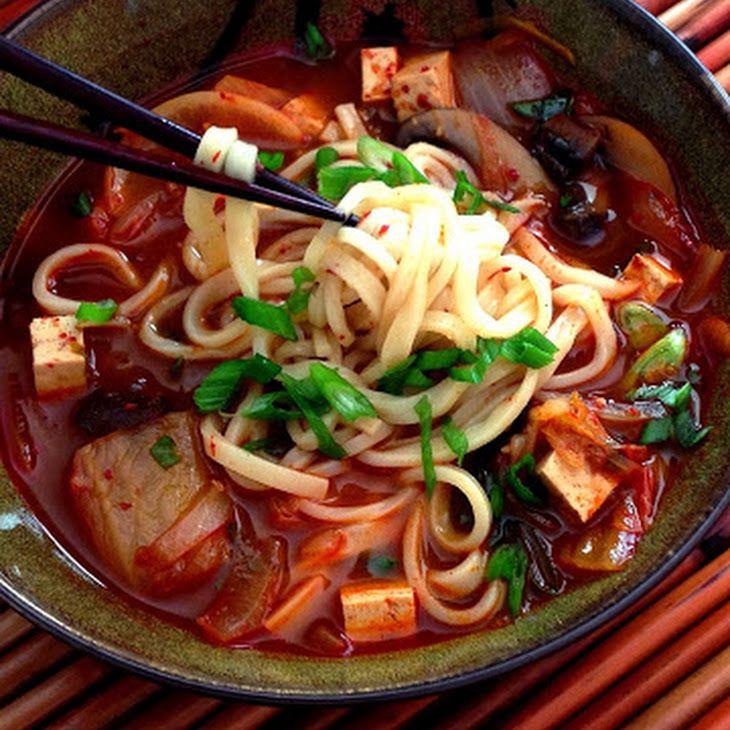 Spicy Korean Kimchi & Tofu Noodle Soup