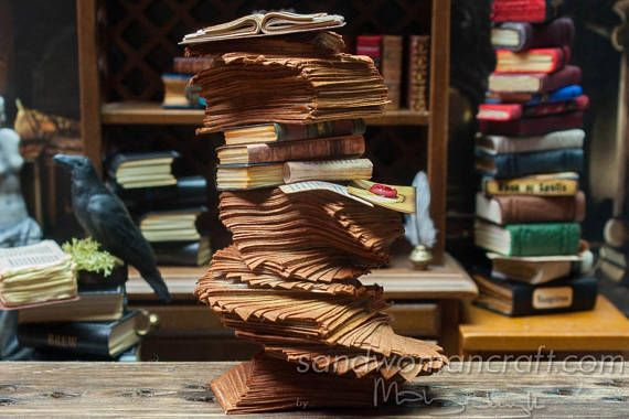 1:12 scale Dollhouse miniature pile of aged papers-Four