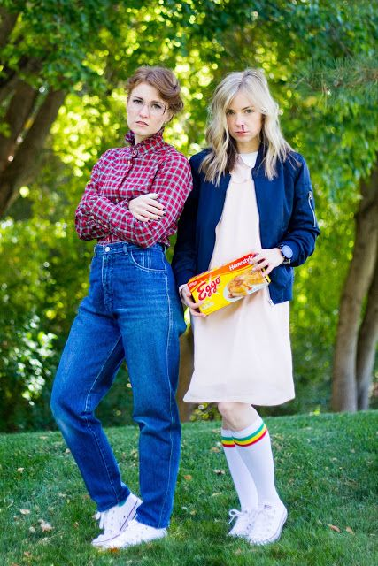 do it yourself divas: DIY Barb and Eleven Costumes From Stranger Things. Eggos, stripe socks, granny jeans, glasses, pink dress, librarian shirt, white converse shoes styled.