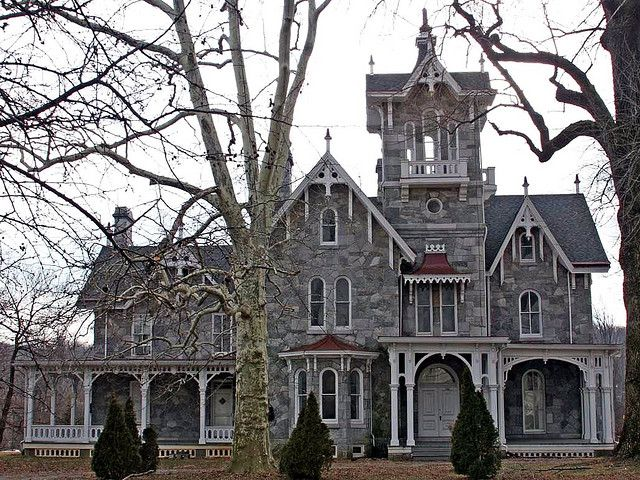 Fantastic carpenter gothic Victorian, the Lockwood Estate in Malvern, PA.  The stone is gorgeous, the architectural detail striking, and the center tower amazing; it looks like a church steeple.