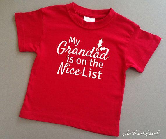 Grandad Nice List Christmas T Shirt,Grandad Shirt,Grandpa Gift,Grandparent Gift,Grandad Gifts,Christmas Gift Ideas,Gifts for Him,T Shirt,Red