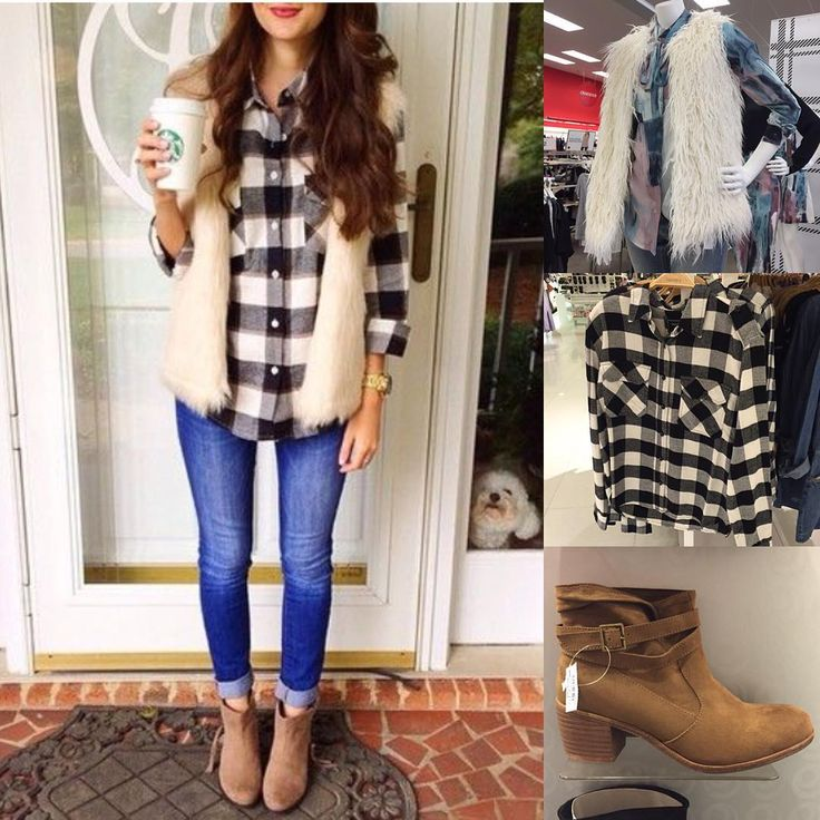 """""""My #pinterest inspiration du jour is this white faux fur vest, check shirt & ankle boots outfit ❄️ Recreate with a @targetstyle vest, @forever21 black…"""""""