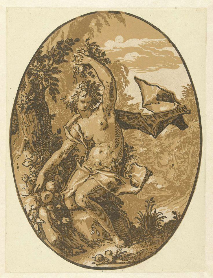 Hendrick Goltzius | Proserpina, Hendrick Goltzius, 1588 - 1590 | De godin Proserpina, gezeten bij een boom, fruit en bloemen in de handen. Deze prent is onderdeel van een serie van zeven ovale prenten van klassieke goden en godinnen.
