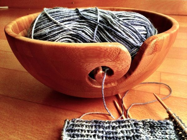 How-To: Wooden Yarn Bowl. Instructible for DIY yarn bowl from IKEA bamboo bowl and dremel.