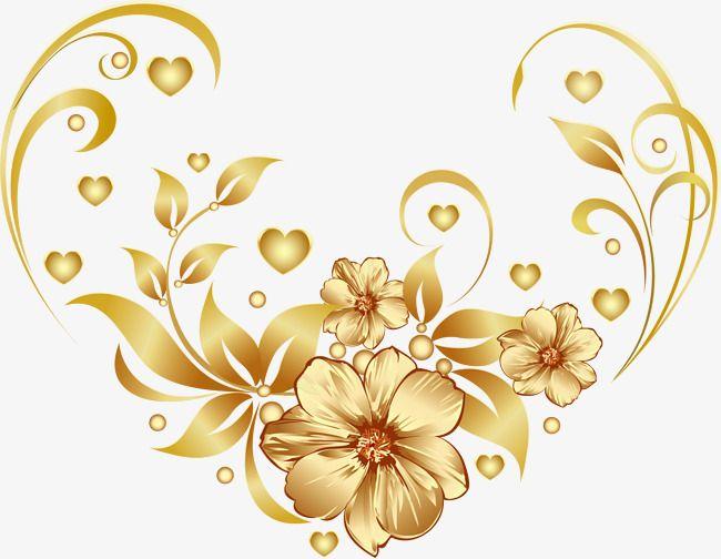 Luxury Golden Flower Flower Art Cartoon Flowers Flower Clipart