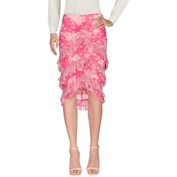 Richmond X Knee Length Skirt (£141) ❤ liked on Polyvore featuring skirts, pink, floral lace skirt, pink skirt, floral print skirt, lace skirt and lacy skirt