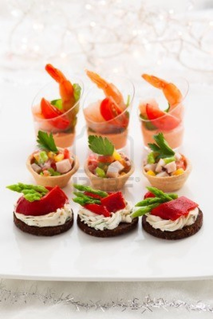 Gold cupcake wrappers a collection of food and drink for Canape party ideas