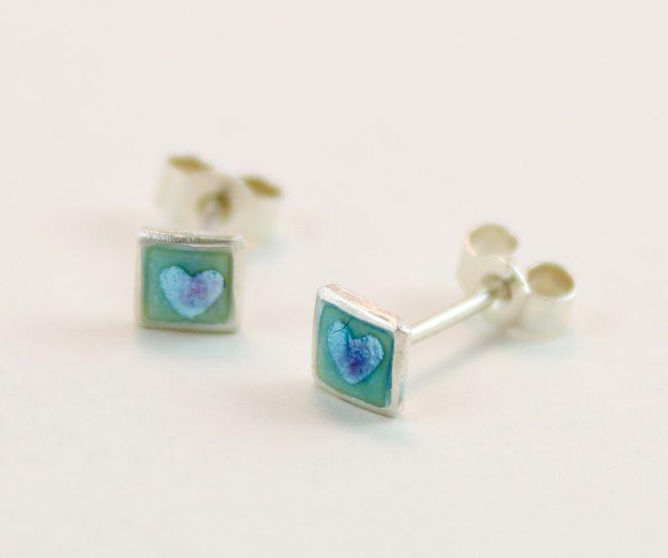 Small square heart enamel silver stud earrings by imogenhose on Etsy