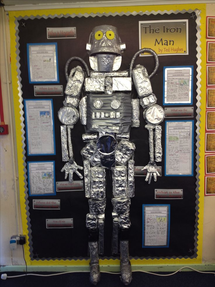 Our Class Iron Man all finished. All the materials were bits that our children brought in. Plastic plant pots.. Boxes, tubes, lots and lots of foil. I drew an outline of the iron man in chalk first to give the children an idea. Then over the next few days they set about using the materials to make a 3D model that measured nearly 2 metres high.