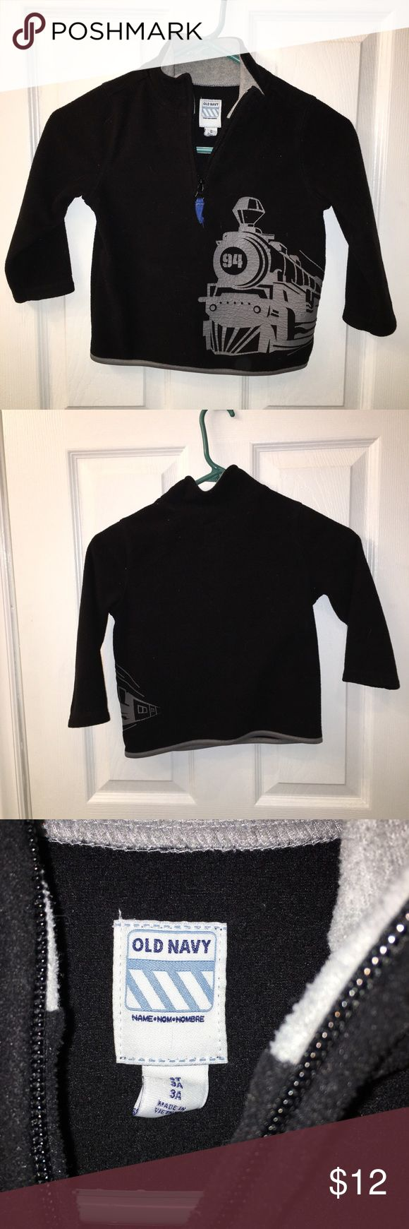Fleece Pullover Black Old Navy Fleece pullover with steam train design, perfect for train lovers!! Old Navy Jackets & Coats