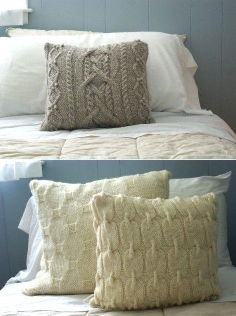 These are gorgeous cable knit pillows.  Also a good was to repurpose that favorite old sweater.