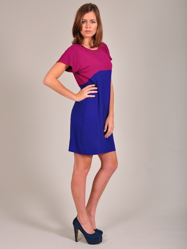Diligo cobalt and berry colour block tunic | www.diligo.co.za