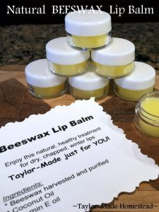She uses beeswax to make a natural lip balm in minutes. It really couldn't be easier - only 3 ingredients! Check it out, y'all. #TaylorMadeHomestead