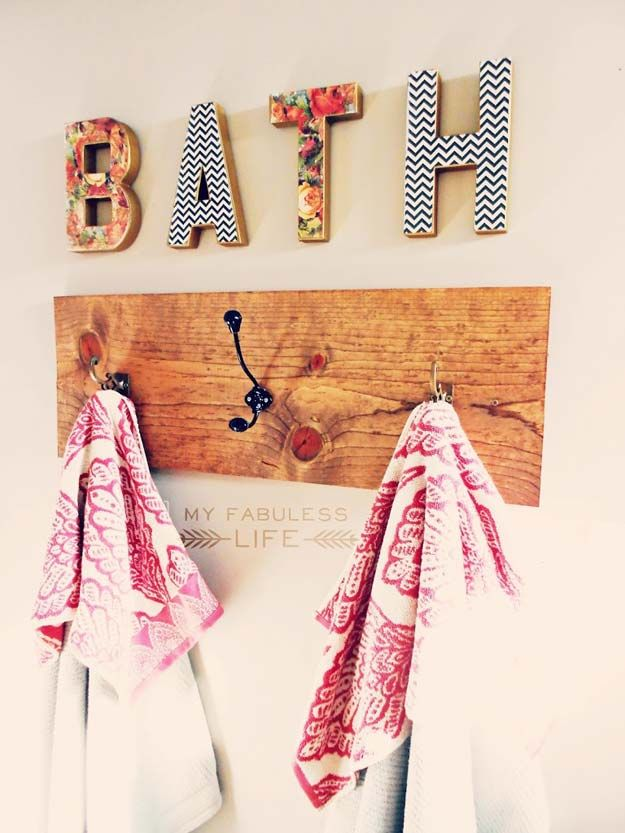 DIY Bathroom Decor Ideas for Teens - Towel Rack - Best Creative, Cool Bath Decorations and Accessories for Teenagers - Easy, Cheap, Cute and Quick Craft Projects That Are Fun To Make. Easy to Follow Step by Step Tutorials http://diyprojectsforteens.com/diy-bathroom-decor-teens