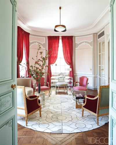 Robert Couturier: Living Rooms, Elle Decor, Dreams, Red Curtains, Interiors Design, Cowhide Rugs, Master Bedrooms, Sit Rooms, Robert Couturi