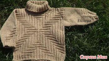 К началу зимы хотелось связать дочери теплый и уютный свитерок. Все подбирала модель, пока не увидела пост Оли (http://www.stranamam.ru/ с очень интересным свитером: