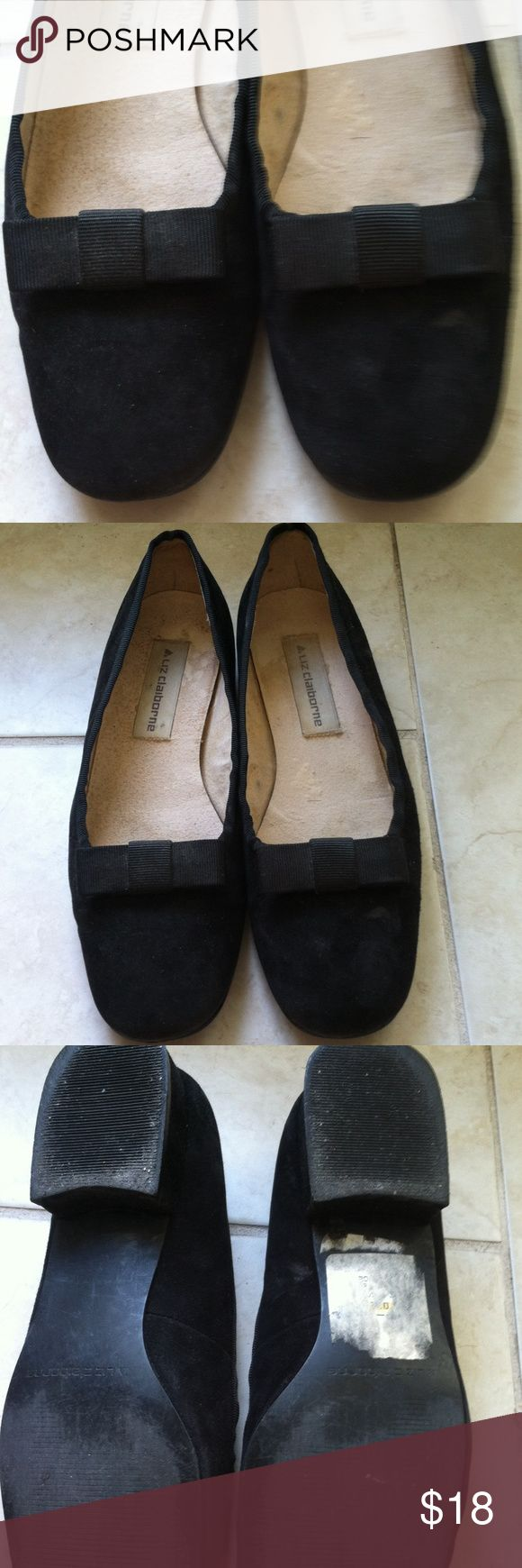 🎄Black suede shoes🎄 Black suede shoes with cute grosgrain bow in front. Has 0.5 inch heel. These are 7.5 but I wear a 7. Bought them because so cute! In good condition. Price firm unless bundled. Liz Claiborne Shoes Flats & Loafers