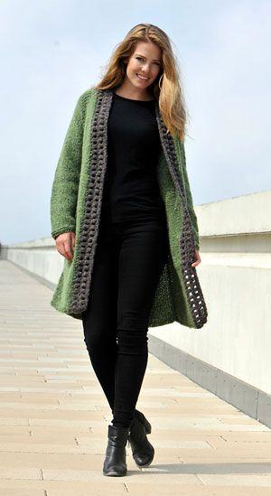 strikket jakke med hæklede kanter