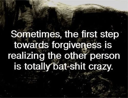 Sometimes, the first step towards forgiveness is realizing the other person it totally bat-shit crazy.