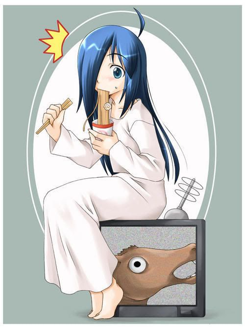 Sadako eating noodles / TV/ the ring