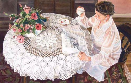 Notícias matutinas, ou De manhã, s/d Thomas Love ( Canadá, contemporâneo) aquarela,  32 x 52 cm Thomas Love  -