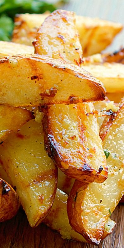 Garlic Parmesan Grilled Potato Wedges - perfect for breakfast, side dish, or an appetizer!