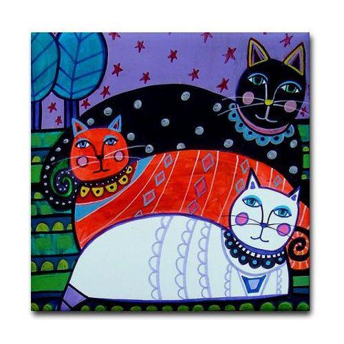 4x4-Cat-Folk-art-Tile-Ceramic-Coaster-Mexican-Folk-Art-Print-Tabby-Cat-Lover