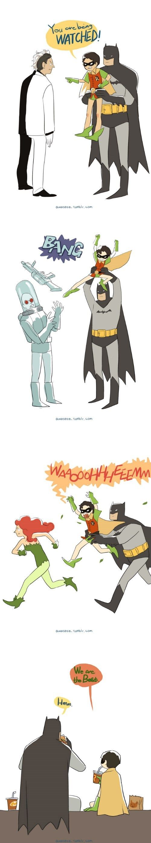 Robin Helps Batman. I feel like the villians let this happen because they thought Robin was cute.(And it was funny to watch Batman doing these things for Robin)