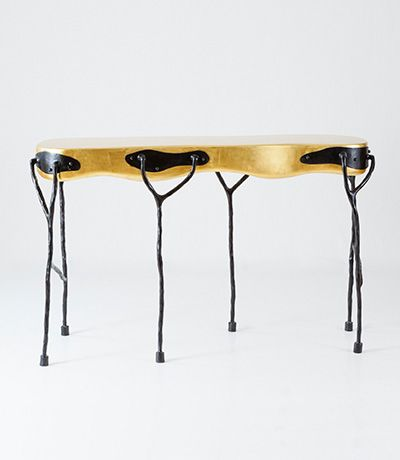 Elizabeth Garouste Viva Console Resin And Gold Leaf Top W/ Black Wrought  Iron Base 55 X X Edition Of 24