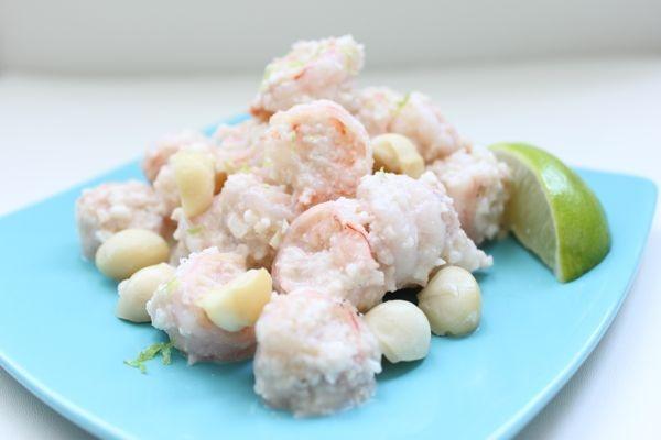 Creamy macadamia shrimp.: Creamy Macadamia, Primal Recipes, Primal Diet, Coconut Shrimp, Macadamia Coconut, Macadamia Shrimpprim, Macadamia Nut, Shrimp Recipes, Paleo Recipes