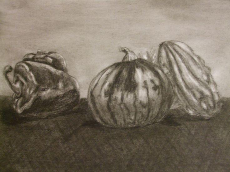 Tökök és paprikák, szénrajz, A4 papír