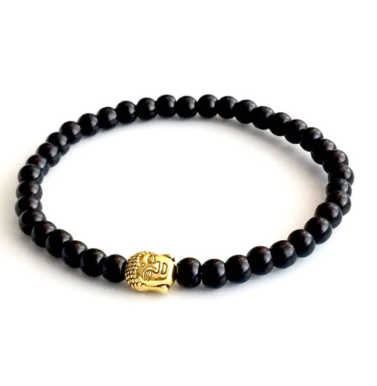 Gold Buddha Black Bead Bracelet - Unisex bracelet - Yoga Bracelet - Bracelet - Men's Bracelet Canada - Stretchable black bracelet by AnisasClayCreations on Etsy https://www.etsy.com/ca/listing/538601991/gold-buddha-black-bead-bracelet-unisex