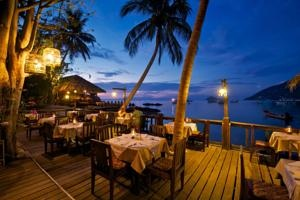 #Sensi Paradise Beach Resort, Koh Tao, Thailand.  Restaurant on the deck over looking the ocean in the faraway mystical destination known as Thailand.  ASPEN CREEK TRAVEL - karen@aspencreektravel.com