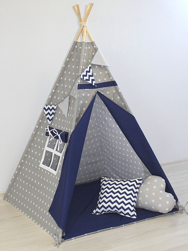 TEEPEE SET WITH PILLOWS - GRAY STRAS