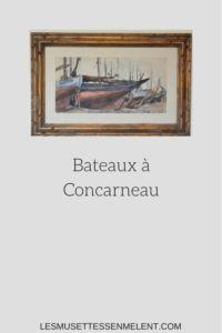 La boutique d'Adeline Bateaux à Concarneau  Aquarelle de  René le Forestier  45 x 25 cm  Cadre d'époque  1940  55 x 35 cm