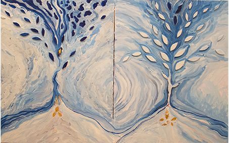 """""""Trees of Life,"""" a mixed media on canvas by Laura P. Sommerville, an art/graphic design/photography teacher at Allentown High School, on display at the Gallery at Mercer during the """"Passing the Palette: Arts Educators and Their Students"""" show, Nov. 16 to Dec. 8, 2015."""