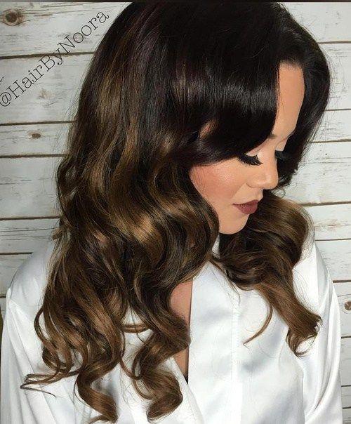 dark+brown+hair+with+golden+brown+balayage+