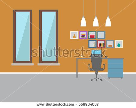 Office room interior design - Home office vector