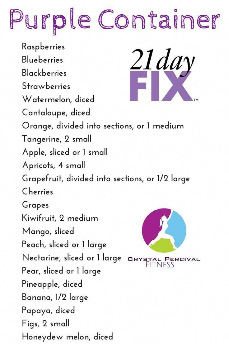 Crystal P Fitness and Food 21 Day Fix Purple Food List