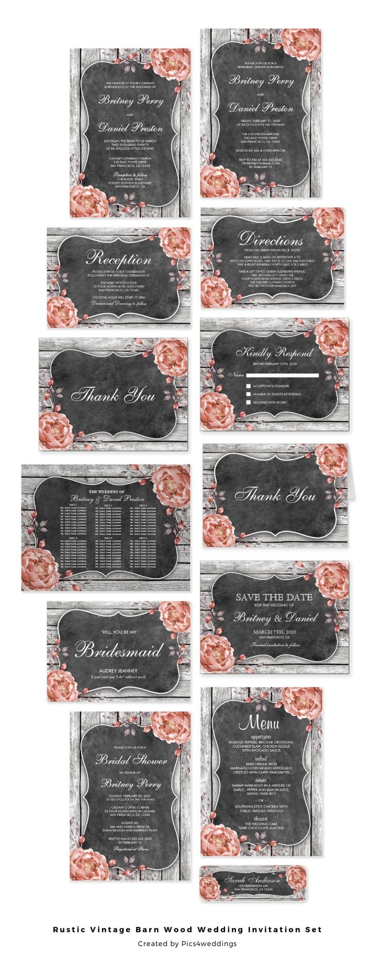 A rustic, vintage wedding invitation set. Featuring distressed charcoal barn wood planks with dusty pink watercolor peonies and a bracket shape chalkboard for the wording. Click on the image to see all available products for this wedding suite!