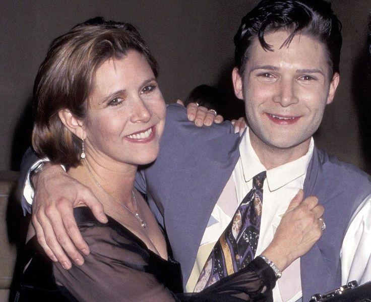 Carrie Fisher and Corey Feldman at MTV movie awards 1992