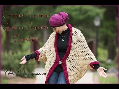 How to Crochet a Granny Square Cocoon Sweater Cardigan - YouTube ༺✿ƬⱤღ✿༻