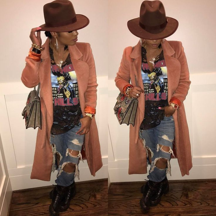 """46.6k Likes, 314 Comments - Rasheeda (@rasheedadabosschick) on Instagram: """"#Chill ishhhhh!! Tee, jeans & Coat from @pressedatl but sold out boots: #louisvuitton bag: #gucci…"""""""