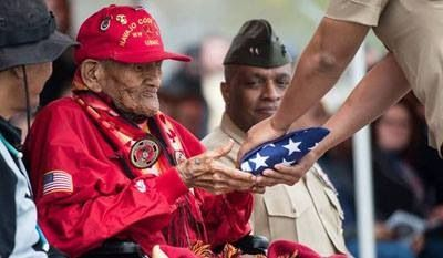 U. S. Marines Corps Cpl. Chester Nez, the last of the Navajo Code Talkers of WWII.