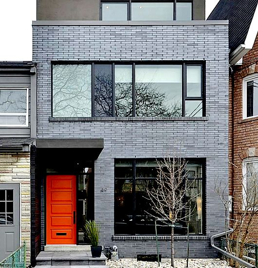 Orange Door Gray Brick Exteriors Pinterest