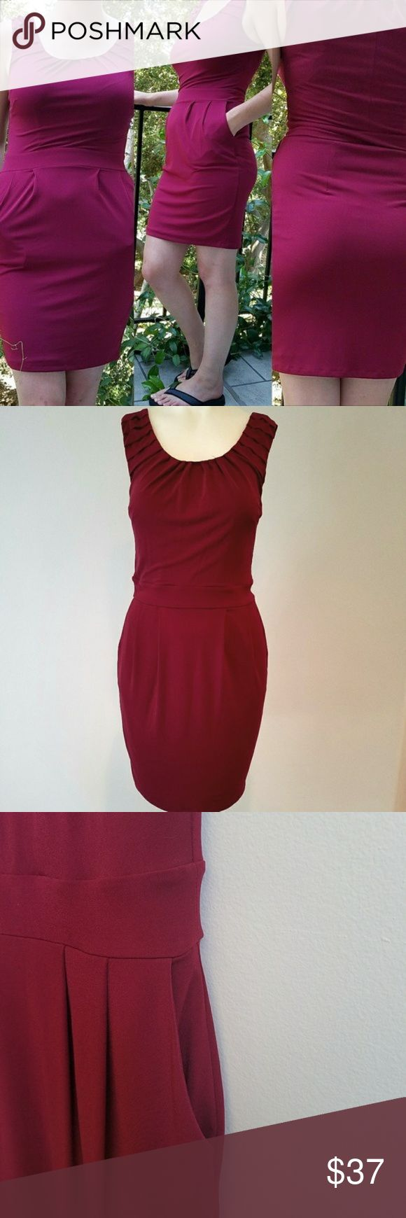 "The Limited Burgundy Mini Tank Dress. The Limited Burgundy Knee length dress with hidden pockets. No flaws, length 35"" long, Waist 12"", Bust 13"" 95% polyester, 5% spandex, 100% nylon. The Limited Dresses Midi #tankdress"