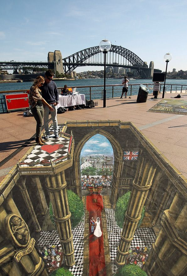 An artist's depiction of the Royal Wedding on display in Sydney, Australia, as part of the VisitBritain tourism campaign.